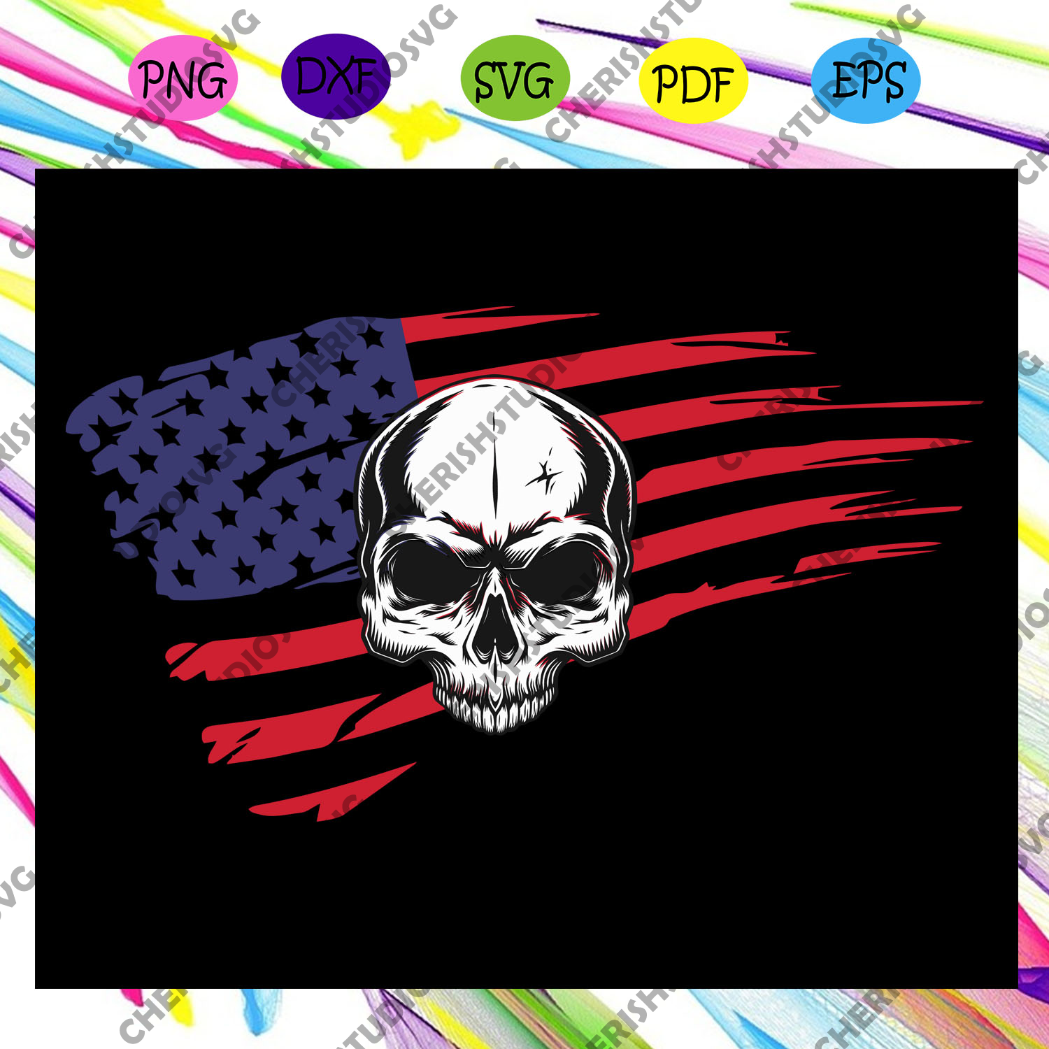 America skull flag, independence day svg,american flag, happy 4th of july svg,patriotic svg, independence day gift,For Silhouette, Files For Cricut, SVG, DXF, EPS, PNG Instant Download