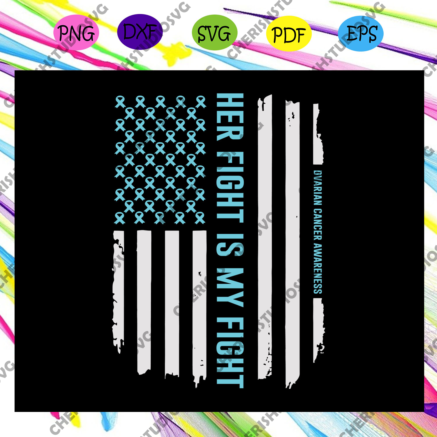 American Flag Ovarian Cancer Awareness T-Shirt Tee Gift Files For Cricut, SVG, DXF, EPS, PNG Instant Download