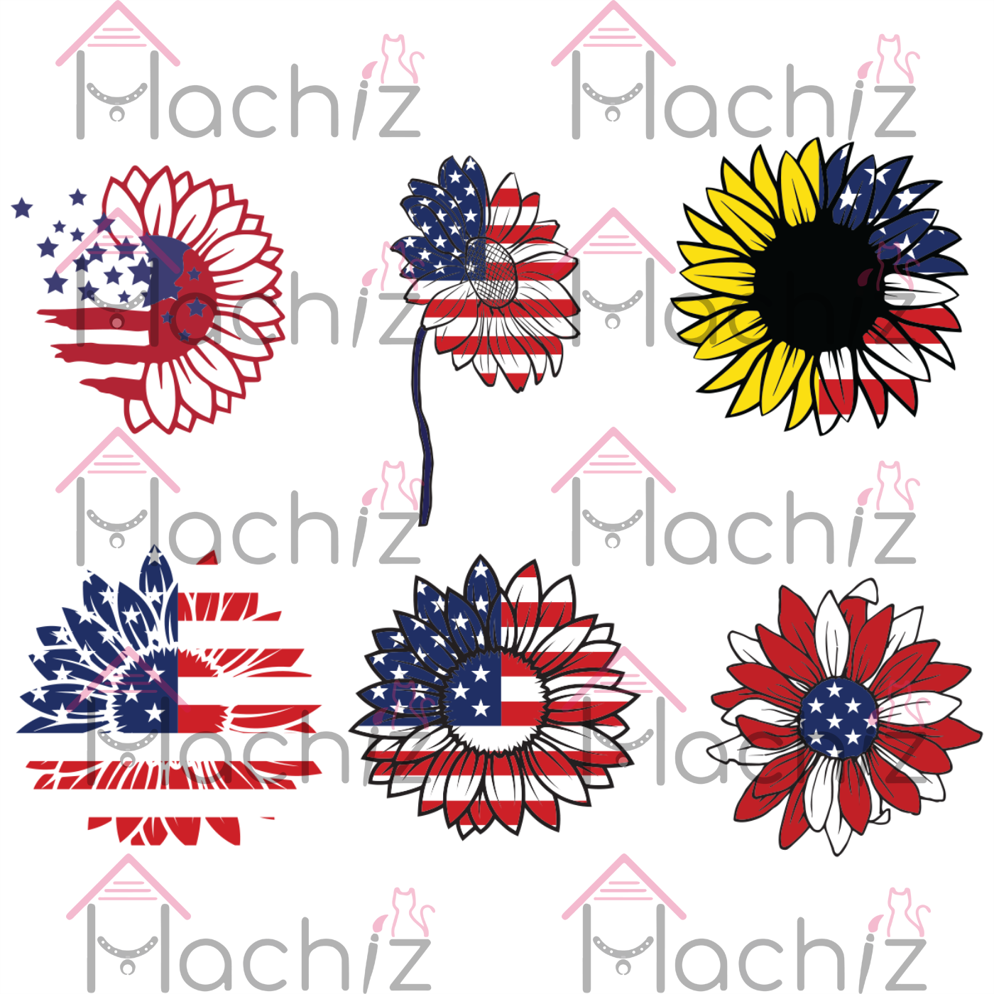 American Flag Sunflower svg, Trending Svg, Patriotic Sunflower Svg, sunflower svg, sunflower bundle svg, american flag svg, independence svg, Files For Silhouette, Files For Cricut, SVG, DXF, EPS, PNG, Instant Download