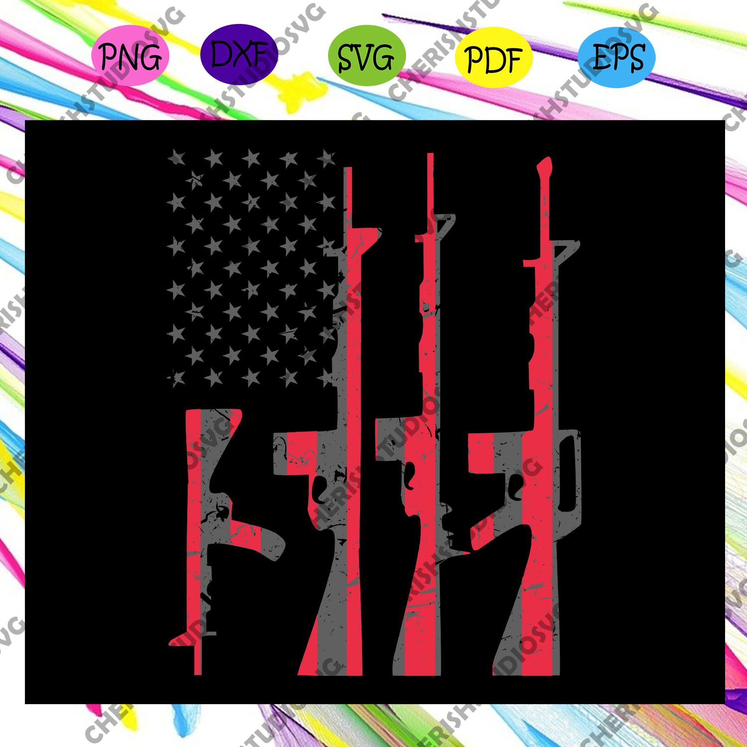 American Gun Flag ,America 4th Of July Patriotic Svg,American Svg, 4th Of July Svg, Fourth Of July Svg, Patriotic American Svg, Independence Day Svg, Files For Silhouette, Files For Cricut, SVG, DXF, EPS, PNG, Instant Download