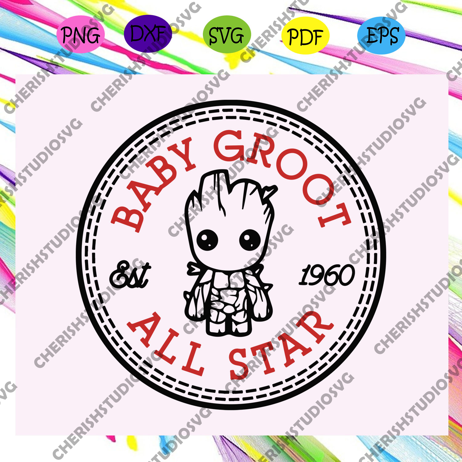 Baby groot all star est 1960, marvel, marvel svg, baby groot, baby groot svg, all star, super heroes,trending svg For Silhouette, Files For Cricut, SVG, DXF, EPS, PNG Instant Download