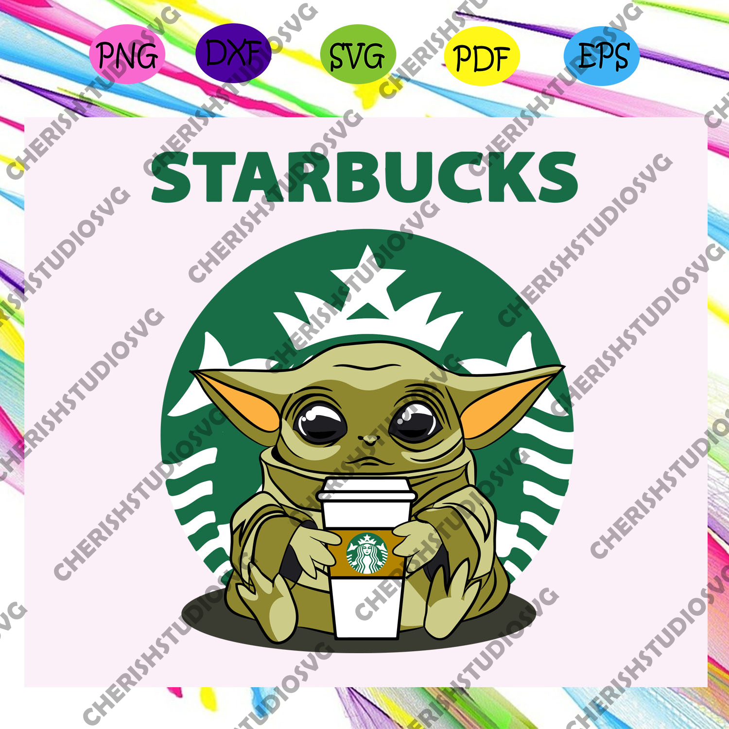 Baby yoda starbucks,baby yoda, yoda svg, clip art, yoda, baby yoda cricut, baby yoda silhouette, baby yoda sticker, baby yoda cut life, baby yoda shirt, For Silhouette, Files For Cricut, SVG, DXF, EPS, PNG Instant Download