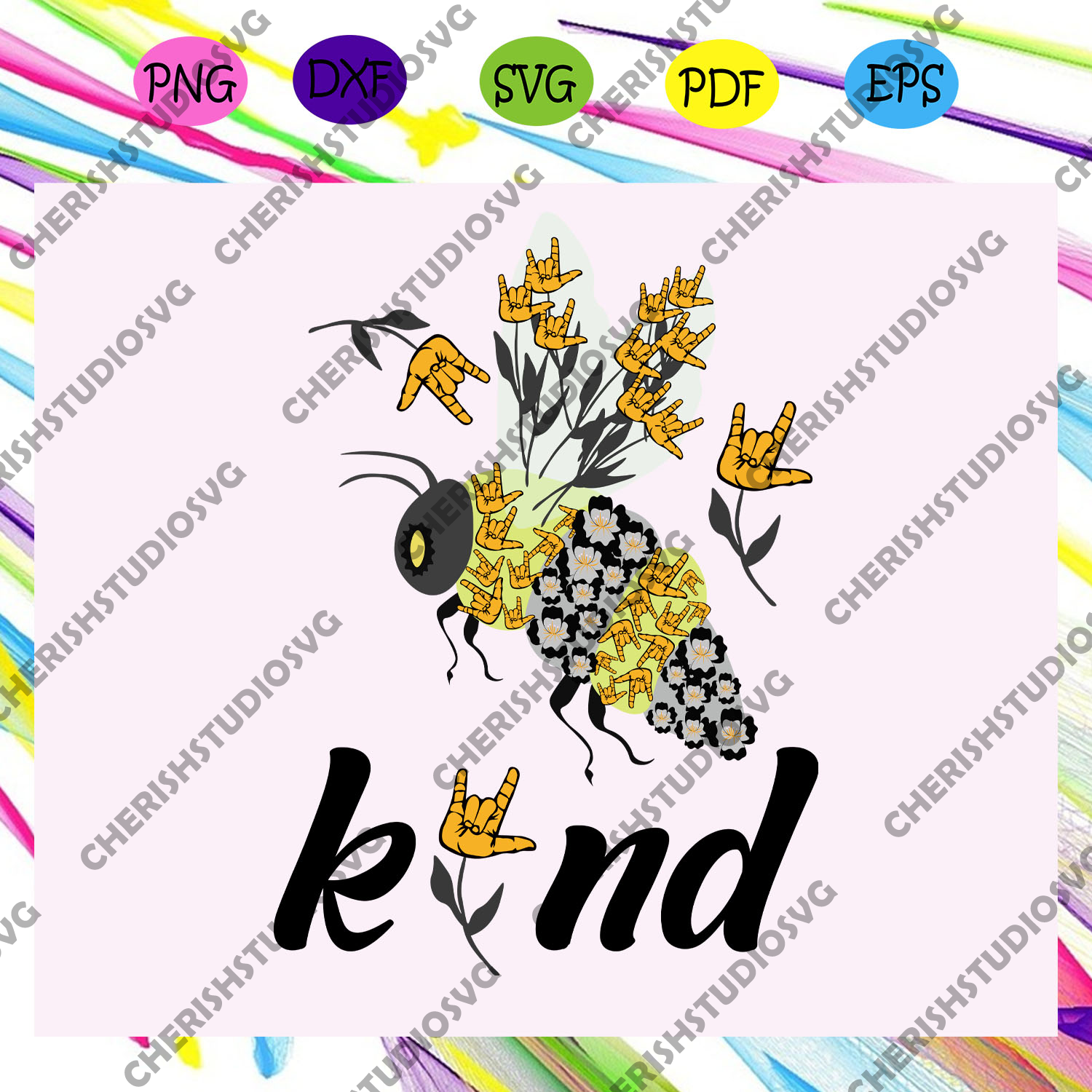 Bee kind, rock and roll hand sign, hand sign, bee svg, bee lover gift, bee clipart, bee shirt, bee lover svg, bee gift, trending svg For Silhouette, Files For Cricut, SVG, DXF, EPS, PNG Instant Download