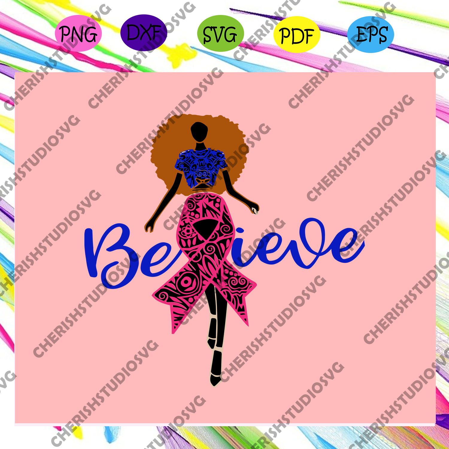 Believe SVG, Breast cancer black girl, believe svg file,black girl svg, black girl gift, pink breast cancer svg, cancer awareness, cancer ribbon svg, breast cancer ribbon,For Silhouette, Files For Cricut, SVG, DXF, EPS, PNG Instant Download