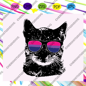 Bisexual Gay Pride Cat LGBT Sunglasses, lesbian gift,lgbt shirt, lgbt pride,gay pride svg, lesbian gifts,gift for bian love,Files For Silhouette, Files For Cricut, JPG, SVG, DXF, PNG Instant Download