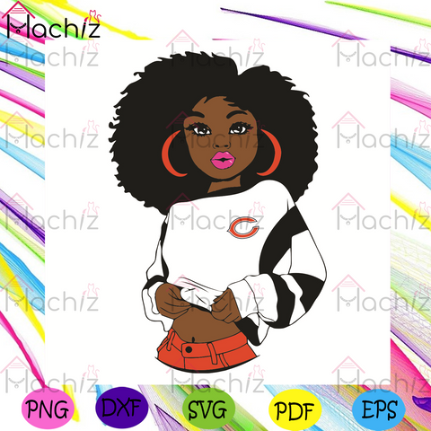 Black Girl Chicago Bears Svg, Sport Svg, Chicago Bears Football Team Svg, Cincinnati Bengals Svg, Black Girl Svg, Chicago Bears Fans Svg, Chicago Bears Gifts Svg, Chicago Bears Logo Svg, Black Girl Gifts Svg, Girl Gifts Svg, Sport Girl Svg