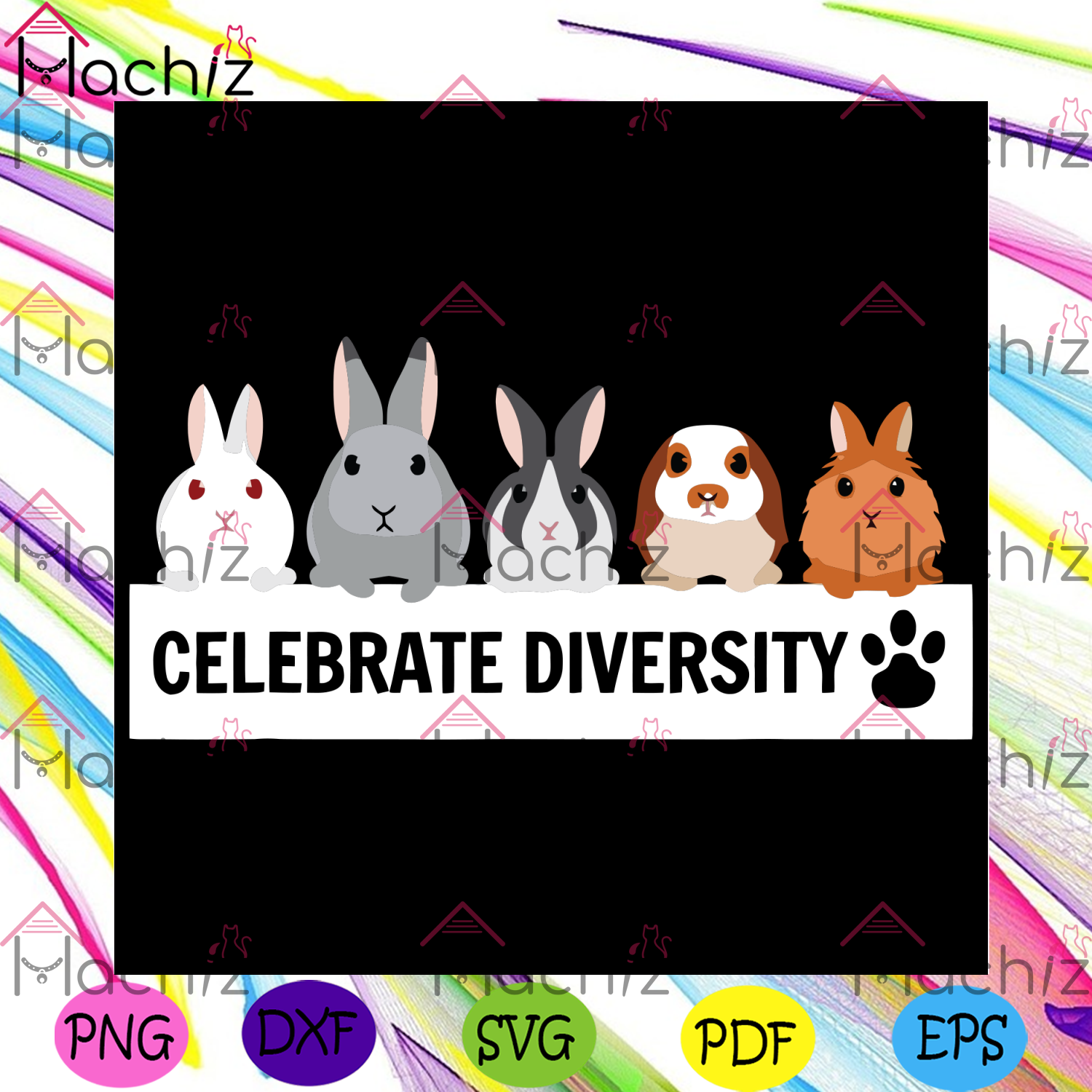Celebrate Diversity Svg, Trending Svg, Celebrate Diversity Svg, Rabbit Svg, Rabbit Lover Svg, Cute Pet Svg, Bunny Svg, Cute Bunny Svg, Rabbit Shirt, Bunny Shirt, Rabbit Lover Gift, Svg Cricut, Silhouette Svg Files