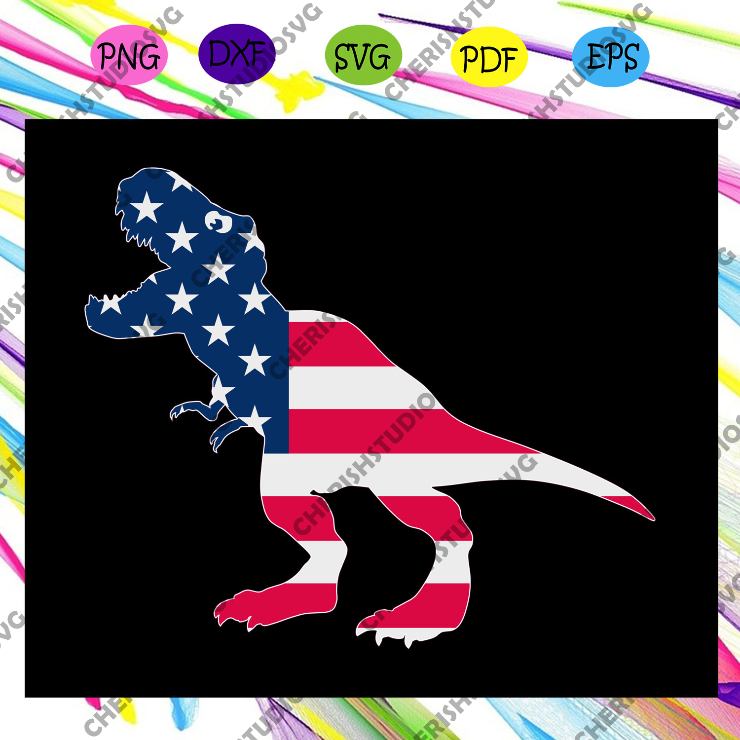 Dinosaur ameican flag, America 4th Of July Patriotic , 4th Of July Svg, Fourth Of July Svg, Patriotic American,Independence Day, Files For Silhouette, Files For Cricut, SVG, DXF, EPS, PNG, Instant Download