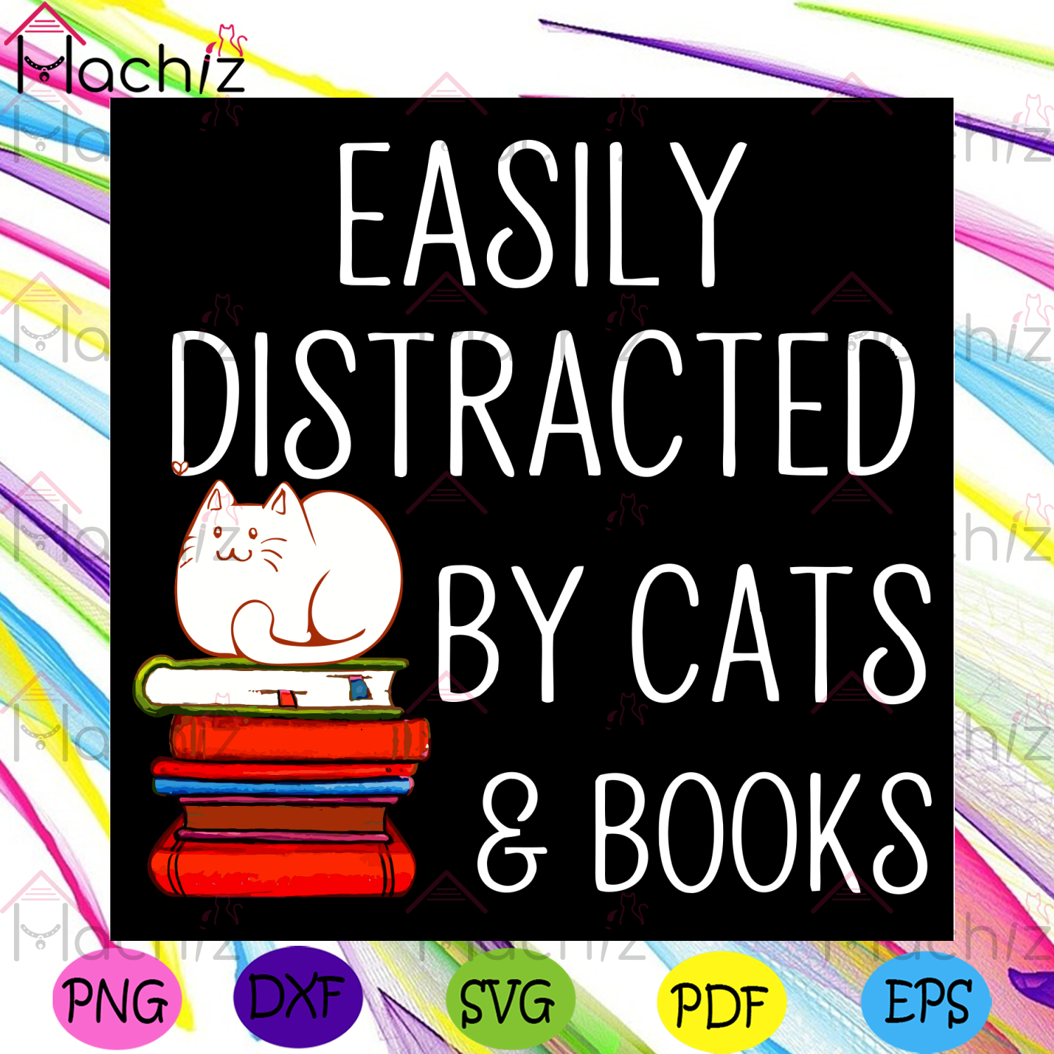 Easily Distracted By Cats And Books Svg, Trending Svg, Cat Svg, Book Svg, Cat Lovers Svg, Book Lovers Svg,Distracted Svg, Cat Gift Svg, Reading Book Svg, Reading Svg, Reading Lovers Svg, Reader Svg, Cat Mom Svg, Animal Svg