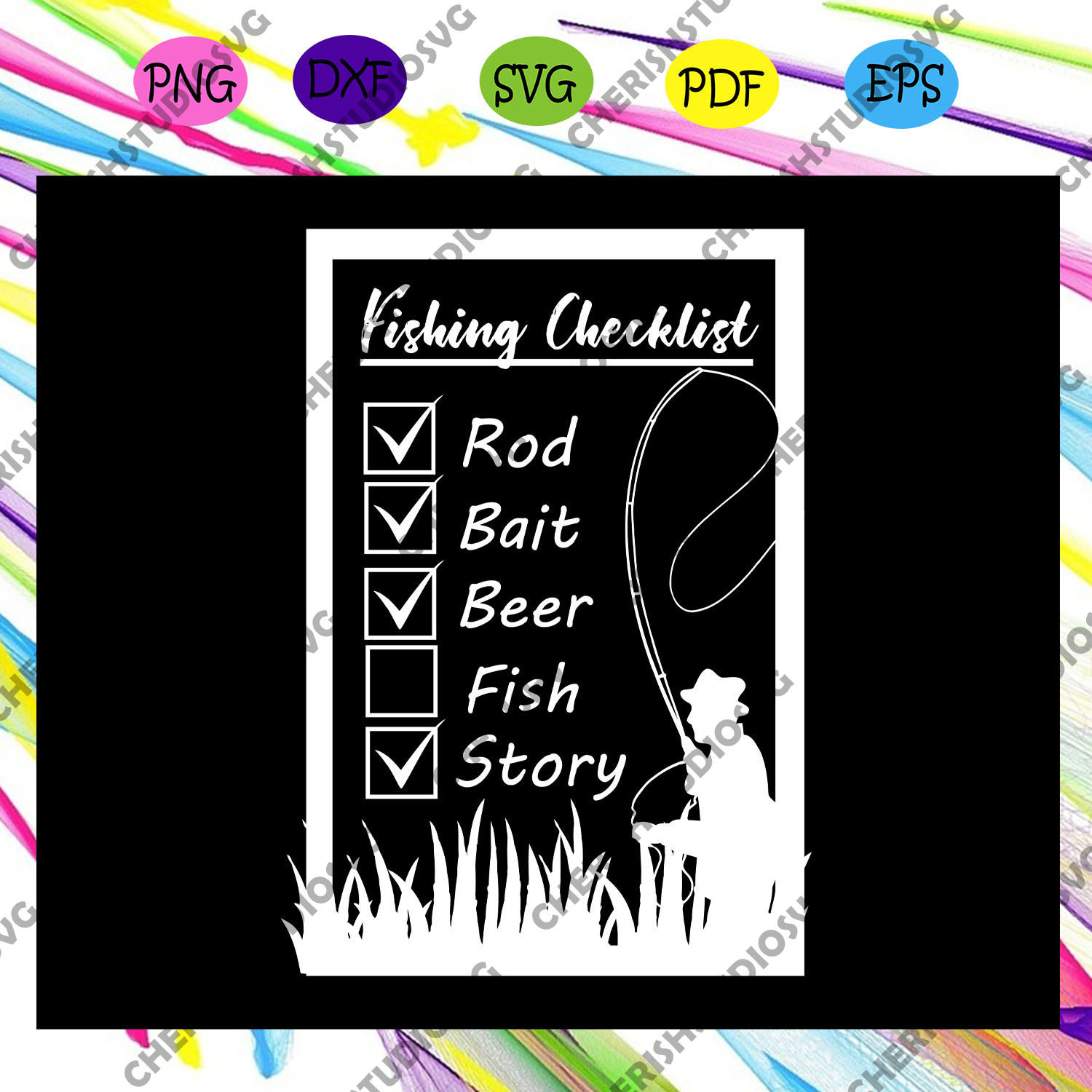 Fishing checklist svg,check list svg, Fishing girl svg, Fishing svg, Fish svg, easter hunt, hunting , hunting svg, fishing svg, fishing decor, Fishing gift, svg files for cricut, svg files