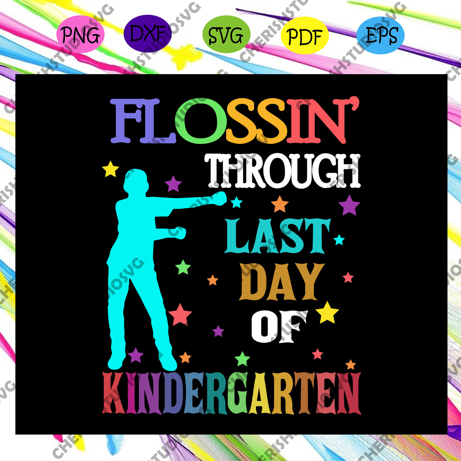 Flossin' through last day of kindergarten, graduation svg, graduation gift, graduate svg, school svg, last day of school, 2032 graduate svg, end of school svg, trending svg Files For Silhouette, Files For Cricut, SVG, DXF, EPS, PNG, Instant Download