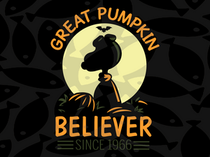 Great pumpkin believer since 1966, snoopy, snoopy svg, snoopy gift, snoopy party, snoopy birthday party, snoopy lover svg, snoopy lover gift,, trending svg, Files For Silhouette, Files For Cricut, SVG, DXF, EPS, PNG, Instant Download