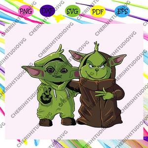Grinch with the child baby yoda , baby yoda svg, yoda svg, grinch svg, the mandalorian, star wars svg, the grinch,For Silhouette, Files For Cricut, SVG, DXF, EPS, PNG Instant Download