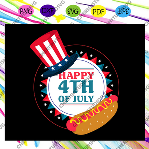 Happy 4th of july, hot dog, Uncle Sam Hat, American Svg, 4th Of July Svg, Fourth Of July Svg, Patriotic American Svg, Independence Day Svg, Memorial Day, Files For Silhouette, Files For Cricut, SVG, DXF, EPS, PNG, Instant Download