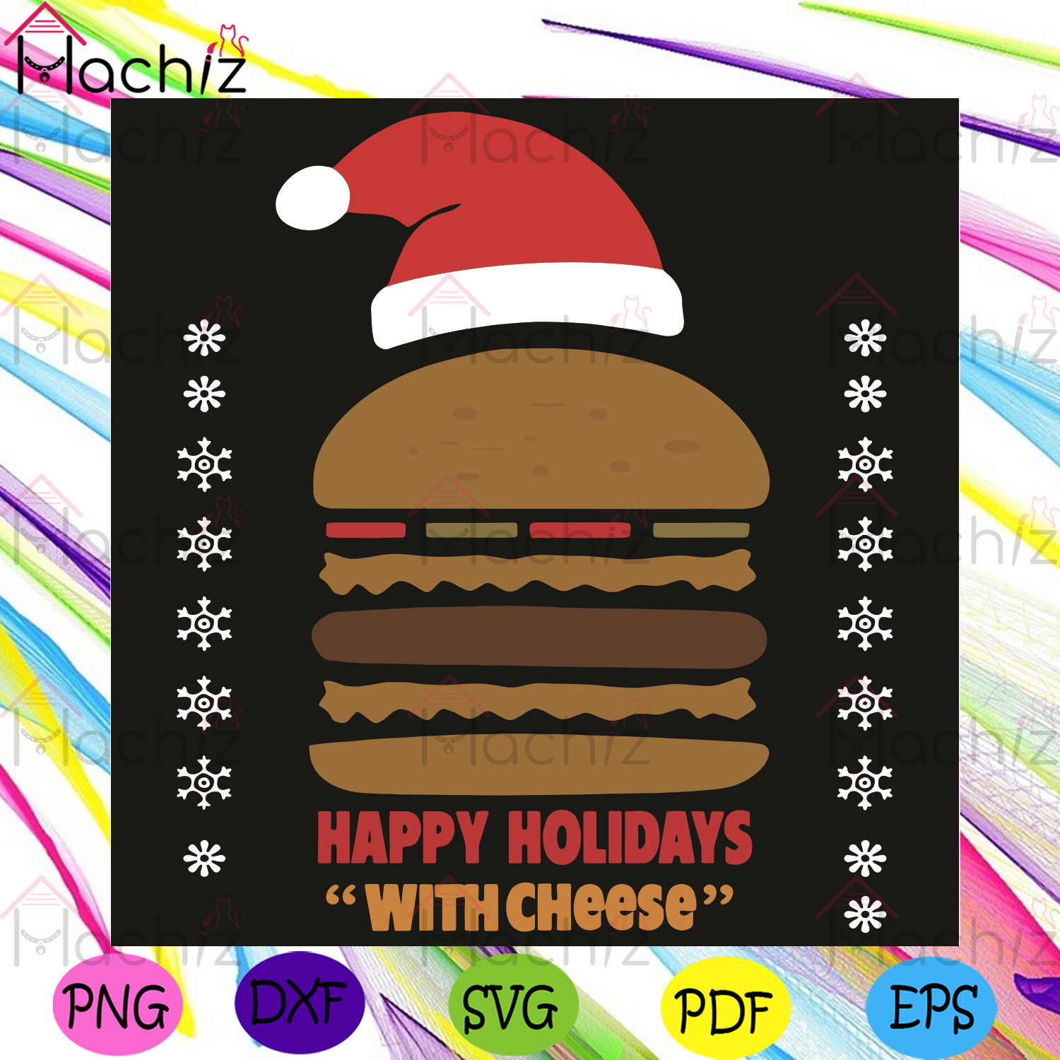 Happy Holidays With Cheese Svg, Christmas Svg, Hamburger Svg, Hamburger Christmas Svg, Cheese Svg, Merry Christmas Svg, Christmas Day Svg, Christmas Gifts Svg, Christmas Celebration Svg, Happy Holiday Svg, Jolly Svg