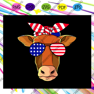 Heifer with sunglasses america flag, independence day svg, happy 4th of july, patriotic svg, july 4th fireworks,american party, memorial day svg, freedom svg, independence day gift,For Silhouette, Files For Cricut, SVG, DXF, EPS, PNG Instant Download