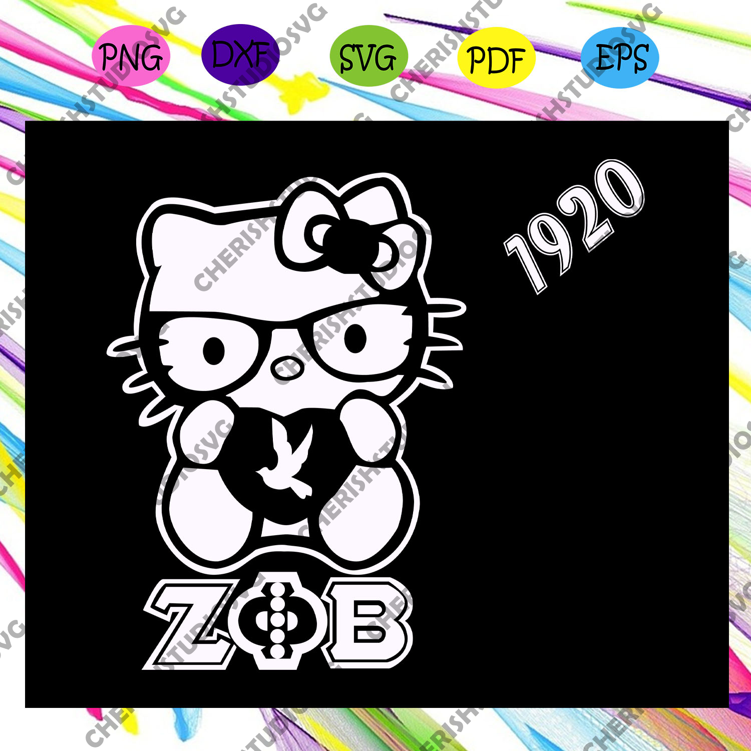 Hello kitty 1920,zeta svg, 1920 zeta phi beta, Zeta Phi beta svg, Z phi B, zeta shirt, zeta sorority, sorority svg, sorority gift, Files For Silhouette, Files For Cricut, SVG, DXF, EPS, PNG, Instant Download