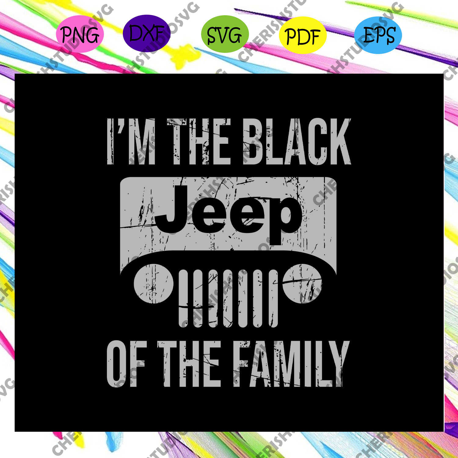 I'm the black jeep of the family , jeep svg, jeep family, black jeep, funny jeep, jeep wrangler, For Silhouette, Files For Cricut, SVG, DXF, EPS, PNG Instant Download