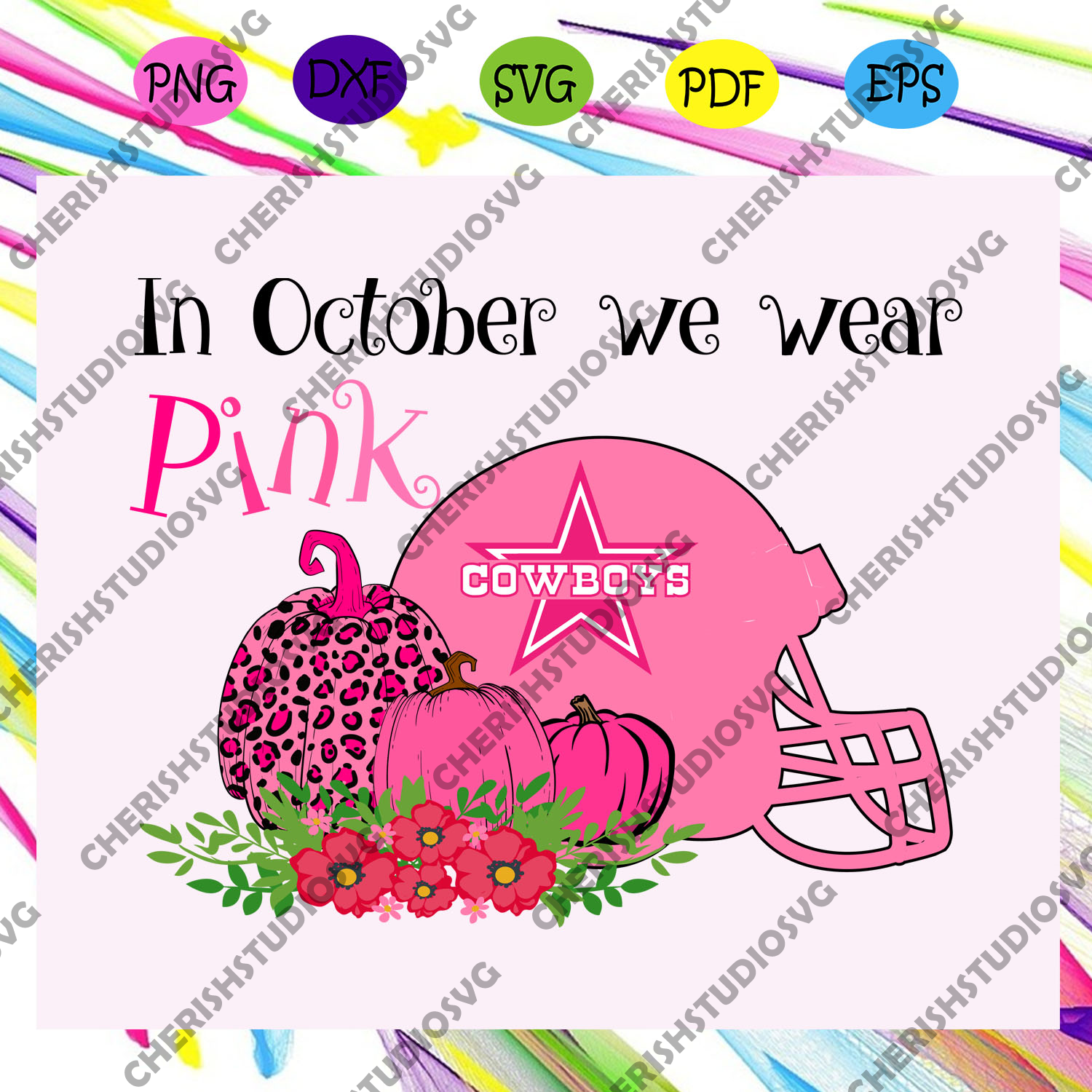 In October we wear pink, cowboys svg, cowboys football, support breast cancer, breast cancer awareness, breast cancer, trending svg For Silhouette, Files For Cricut, SVG, DXF, EPS, PNG Instant Download