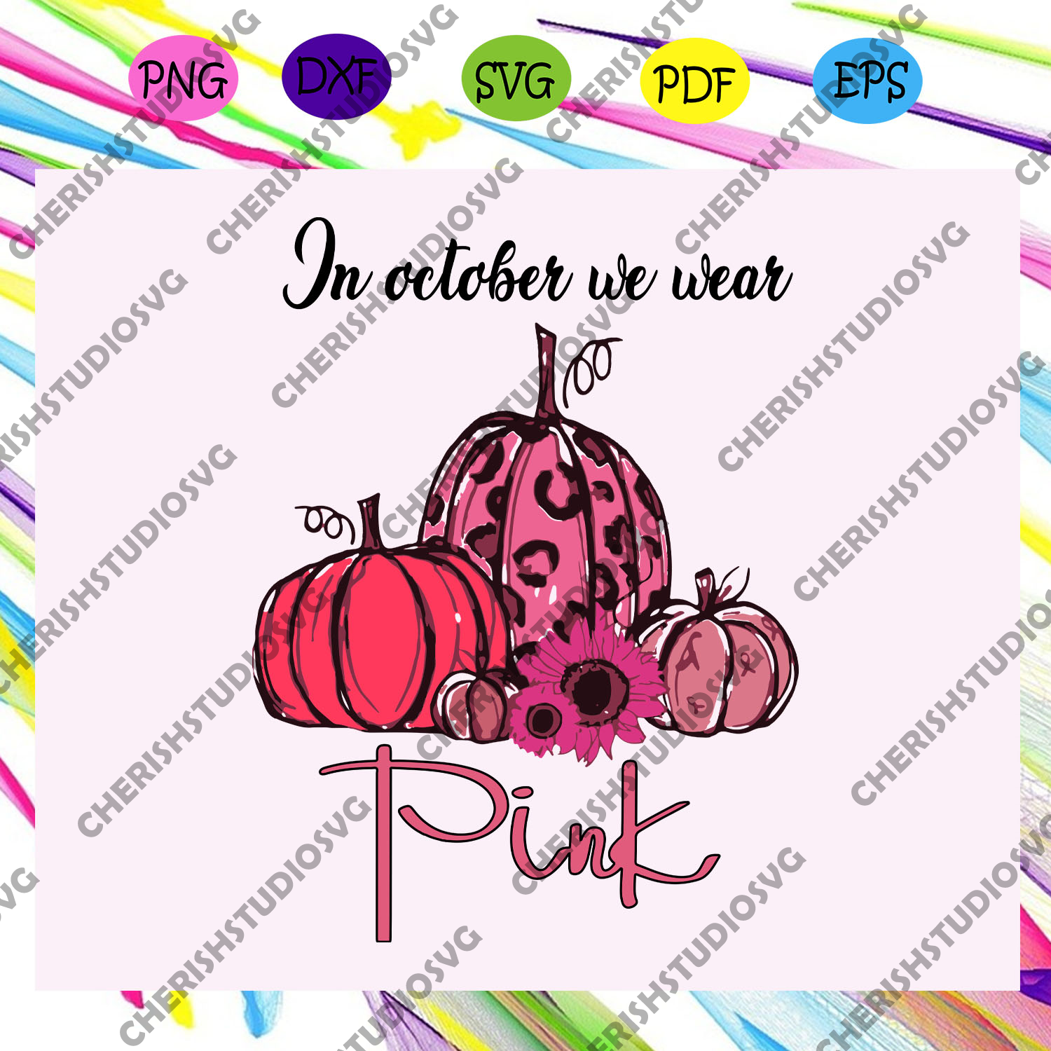 In October we wear pink, pink up, breast cancer, breast cancer svg, breast cancer ribbon, trending svg For Silhouette, Files For Cricut, SVG, DXF, EPS, PNG Instant Download