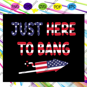 Just here to bang, firework svg, American Flag Svg, Fourth Of July Svg, America Svg, Patriotic American, Independence Day Svg, Memorial Day, Files For Silhouette, Files For Cricut, SVG, DXF, EPS, PNG, Instant Download