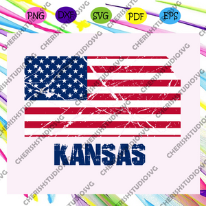 Kansas america flag, independence day svg, happy 4th of july svg,patriotic svg, independence day gift, For Silhouette, Files For Cricut, SVG, DXF, EPS, PNG Instant Download