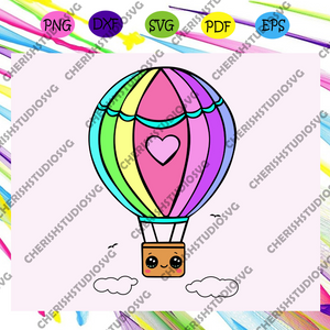 Kawaii hot air balloon , hot air balloon svg, hot air balloon gift,air balloon print, air balloon shirt,trending svg For Silhouette, Files For Cricut, SVG, DXF, EPS, PNG Instant Download