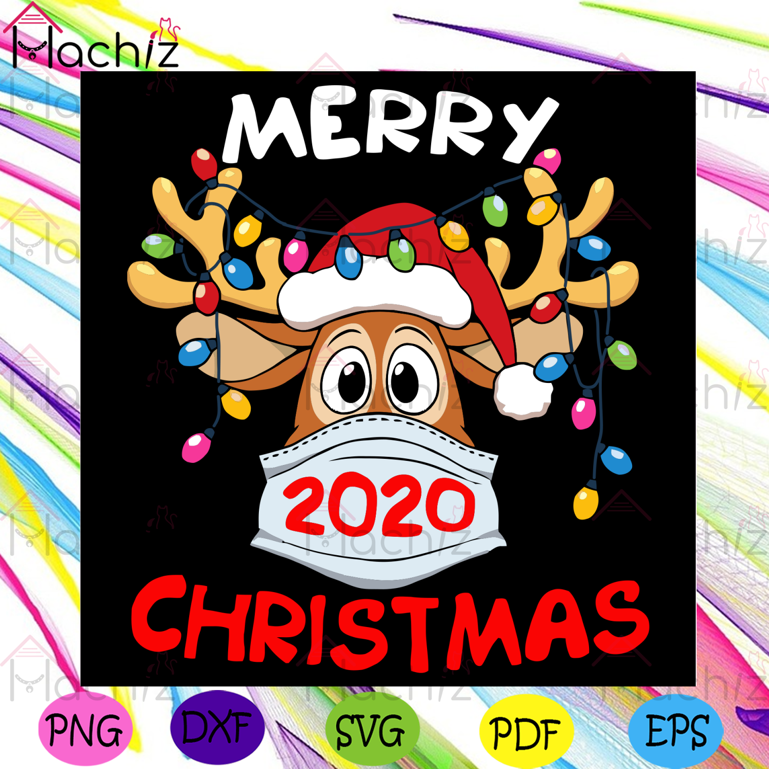 Merry Christmas Svg, Christmas Svg, Reindeer Svg, Quarantined Christmas 2020, Santa Hat Svg, Christmas Lights Svg, Quarantined Svg, Coronavirus Svg, Masking Svg, Masking Reindeer Svg, Christmas Gifts Svg, Christmas Celebration Svg,