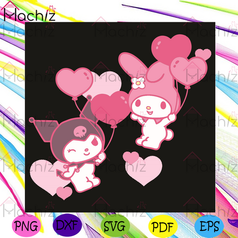 My Melody And Kuromi Valentine Day Hearts Svg, Valentine Svg, Melody Svg, Kuromi Svg, My Melody And Kuromi Svg, Couple Svg, Love Svg, Hearts Svg, Love Gifts Svg, Valentine Day Svg, Valentine Gifts Svg, Valentine Party Svg