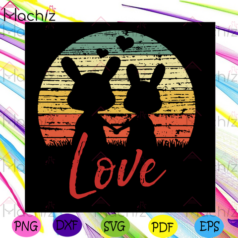 Rabbits Love Svg, Valentine Svg, Valentines Day Svg, Rabbits Svg, Love Svg, Holding Hands Svg, Vintage Rabbits Svg, Happy Valentines Day Svg, Valentines Gifts, Valentine Hearts Svg, Rabbit Vector, Diy Crafts, Silhouette Cut File