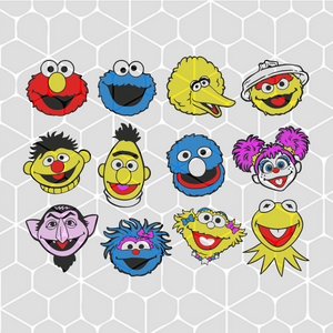 Sesame street face head bundle,  sesame street svg, elmo face svg, sesame street, sesame street party, sesame street face, big bird zoe,trending svg, Files For Silhouette, Files For Cricut, SVG, DXF, EPS, PNG, Instant Download