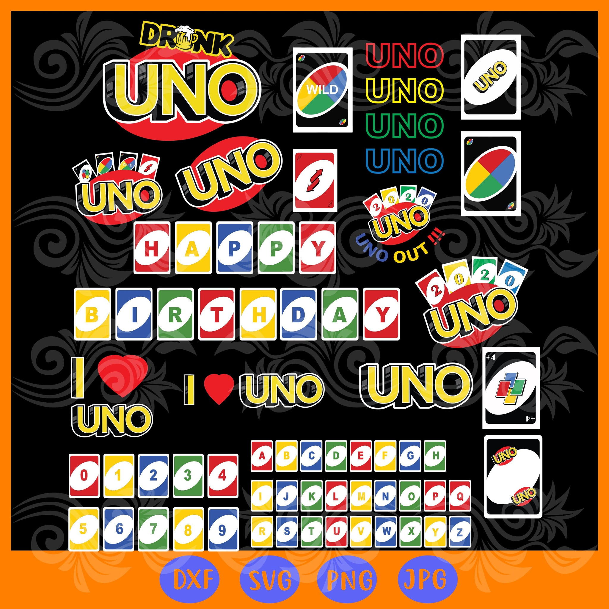 Uno card bundle , uno svg birthday, uno drunk logo, uno shirt svg, uno card svg, uno we out, uno party, uno alphabet, uno 2020 svg, trending svg, Files For Silhouette, Files For Cricut, SVG, DXF, EPS, PNG, Instant Download