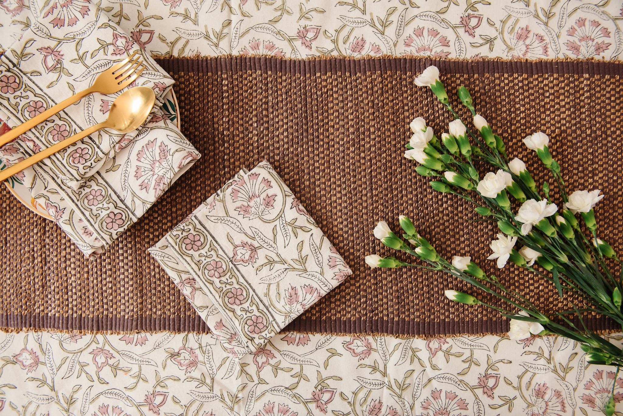 floral printed table linens