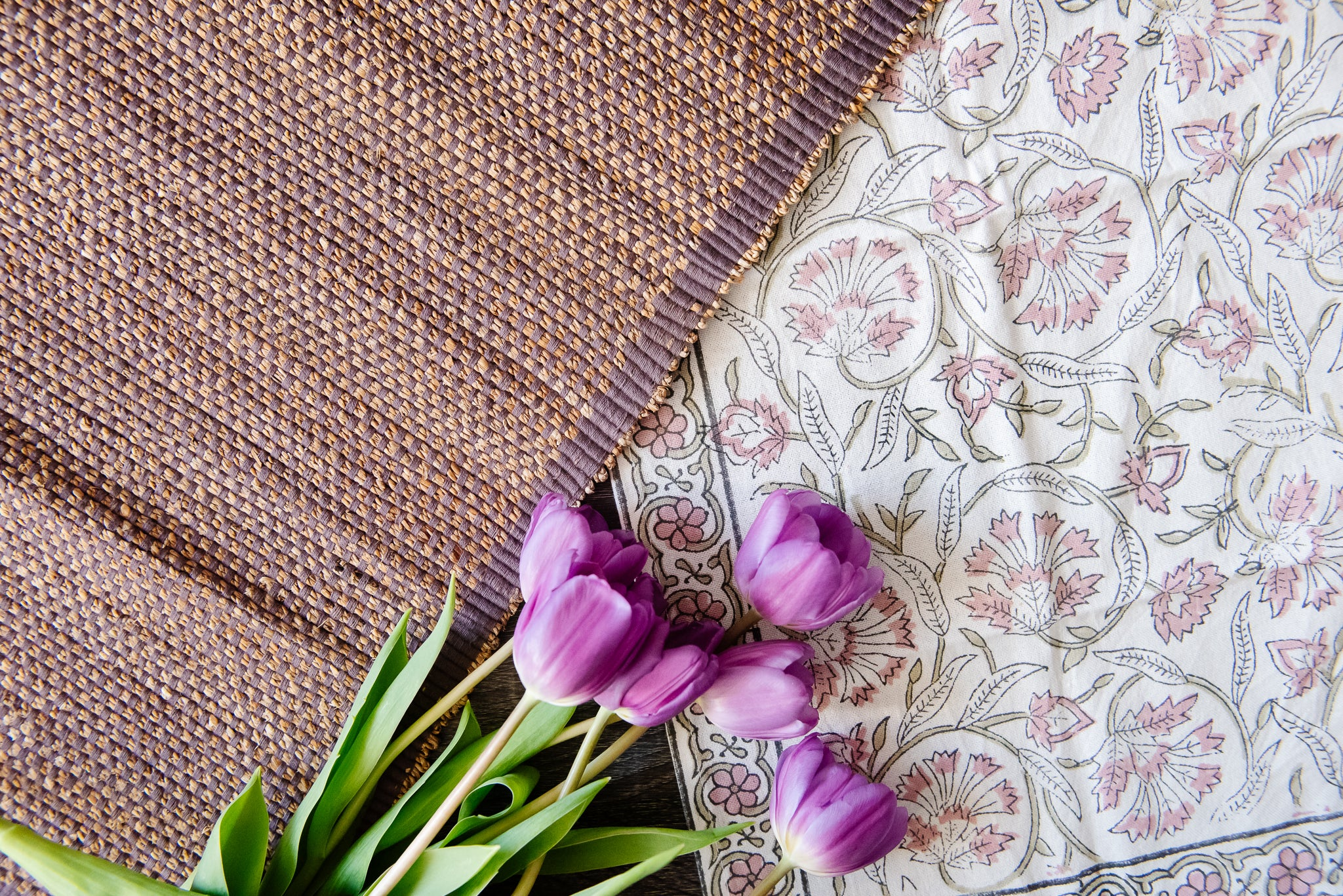 Lilac table linens
