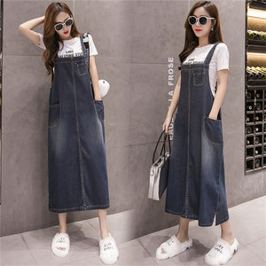 Open image in slideshow, Suspenders Denim Dresses