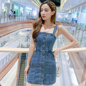 Open image in slideshow, Spaghetti Strap Vintage Jeans Party Dress