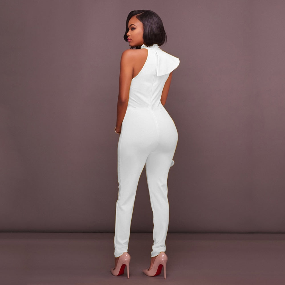 Ruffles Turtleneck  Sleeveless Off Shoulder Jumpsuit