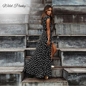 Open image in slideshow, Boho Polka Dot Long Dress