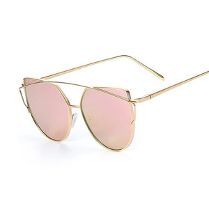 Open image in slideshow, Mirror Flat Rose Gold Vintage Metal Reflective Sunglasses