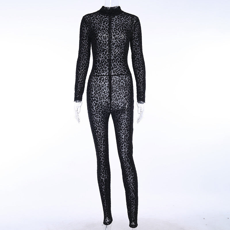 Transparent Leopard Pattern Long Sleeve Jumpsuit