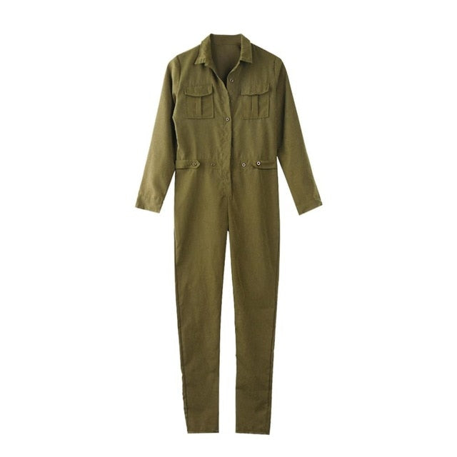 Long Sleeve Army Green Long Jumpsuit