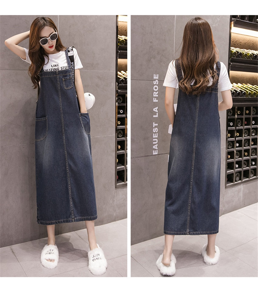 Suspenders Denim Dresses
