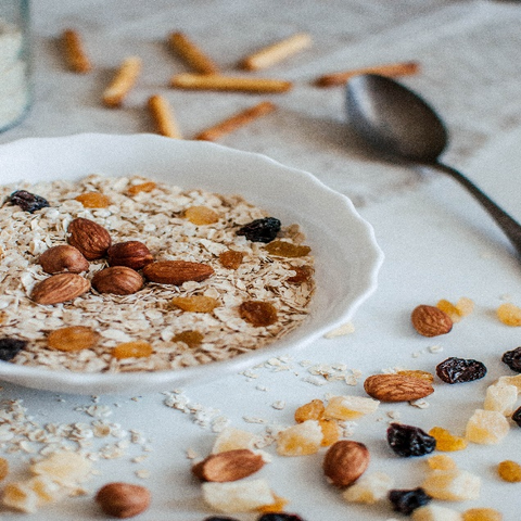 Oatmeal topped with almonds
