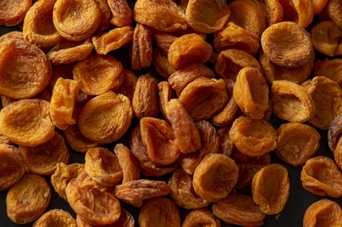 Dried and wrinkled apricots