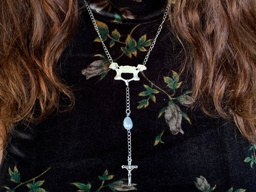 Beaver Vertebrae, Pearl & Cross Necklace