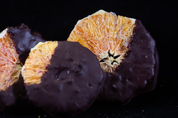 Oranges slices, Freeze Dried and Chocolate in Coated