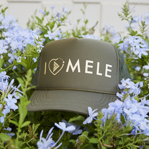 I Love Mele Adult Trucker Hat Green/Gold