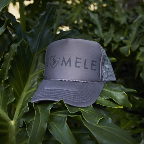 I Love Mele Adult Trucker Hat Grey/Black