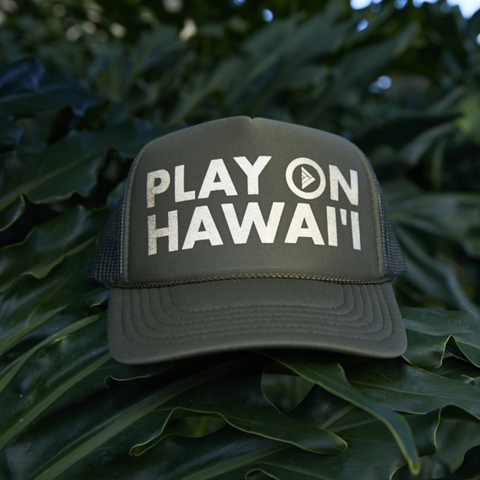 Play On Hawai'i Adult Trucker Hat Green/Gold
