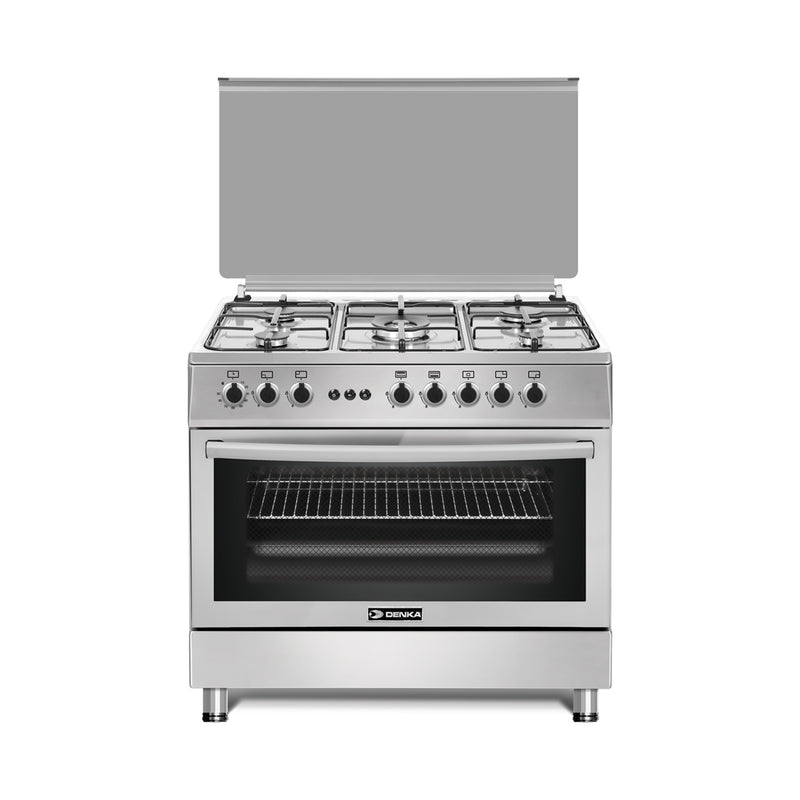 90x60 Free Standing Gas Cooker, Stainless Steel Design